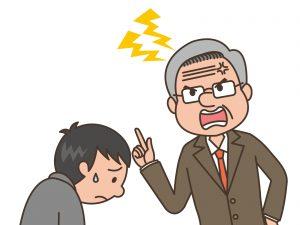 怒る男性とうなだれる男性の画像