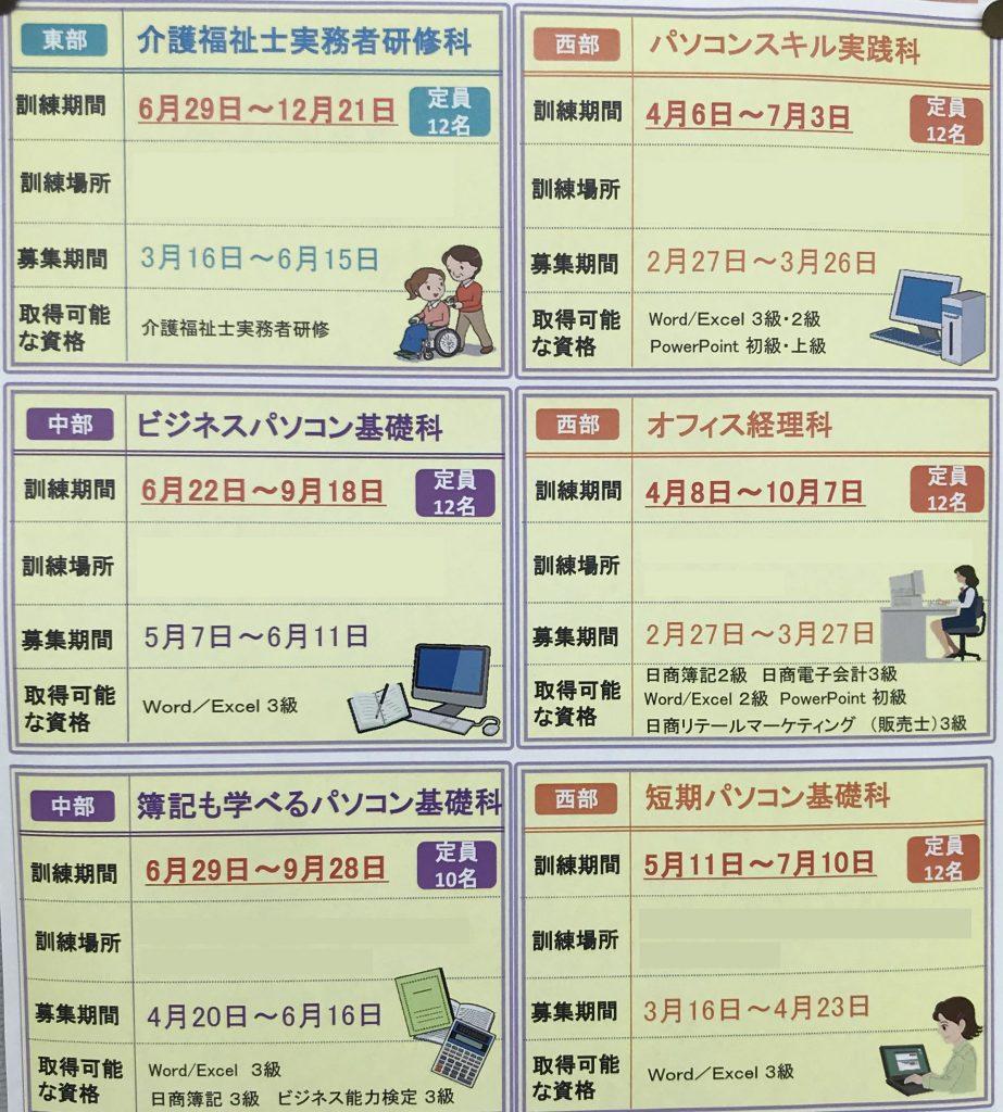 支援訓練の募集要項等の画像