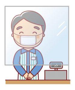 マスクをして働く店長のイラスト